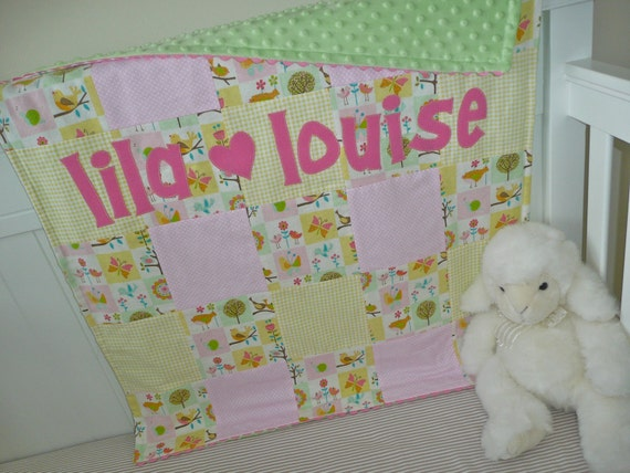 Personalized Baby Blanket- Lovey Dovey Patch