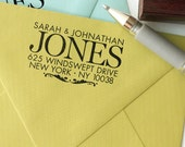personalized custom wood handle address stamp - Big Sur design  - New last name