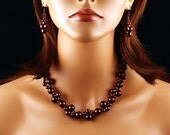 Chocolate Pearl Twist Beaded Necklace & Earring Set