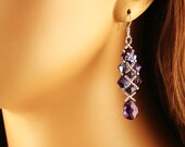 Amethyst AB and Silver Beaded Earrings with Crystal Drop