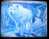 Arctic White Wolf, Native American Art, Eli Thomas Art, home decor ideas, wolves, wolf art, nature art, wildlife art, holiday gift ideas