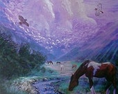Horse, Native American art , Eli Thomas Art, horse totem art, spirit art print, gift ideas, home decor, hawks, horses, nature art, wildlife