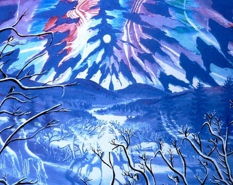 Wolf Native American Art,  Print Spirit Song, animal totem wolf , home decor wolves, Eli Thomas Art Blue image
