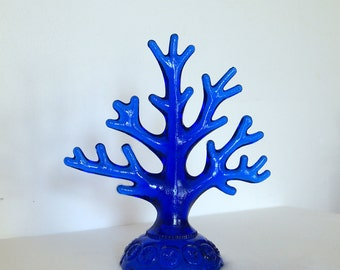 Smith cobalt blue glass tree.  Moon and Stars.