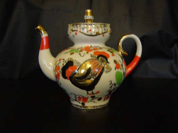 Great Russian LOMONOSOV Porcelain Coffee TEAPot HandPainted ROOSTER - Golden Cockerel.  Russian Lomonosov Factory mark & Made in Russia mark