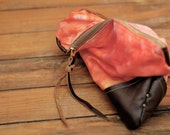 T R A V E L collection Tie dye pouch, leather corners