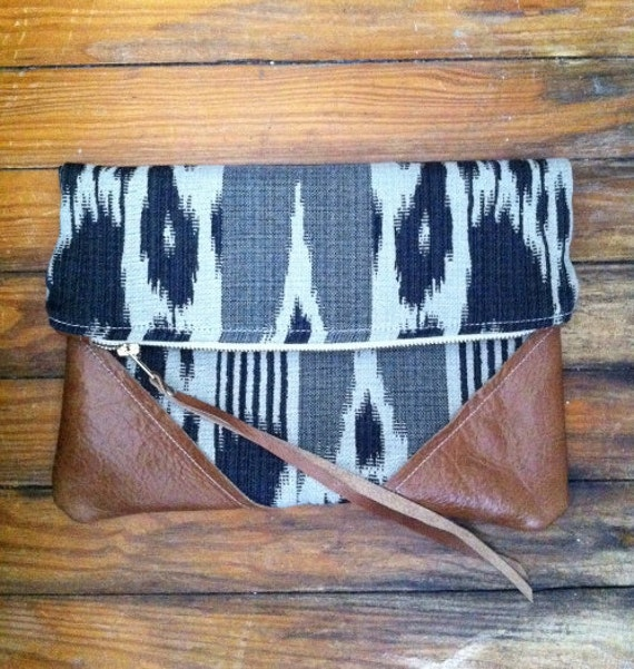 Leather and cotton clutch