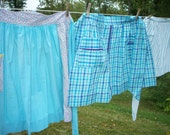 Vintage half aprons turquoise lot of three