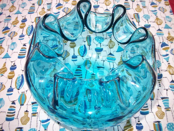 Vintage blown glass bowl turquoise mid century modern
