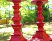 """Country Red Candle Holders-8"""""""