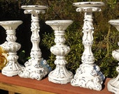 """Shabby Distressed Bright White Wedding,  5 Piece Candle Holder Set-10"""" down to 8"""""""