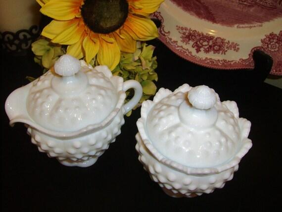 Vintage Fenton White Milk Glass Hobnail Cream and Sugar Set with Lids