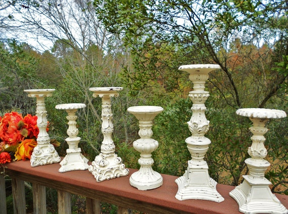Shabby Distressed Antique White Mixture of Six Candle Holders-Varied Heights and Sizes