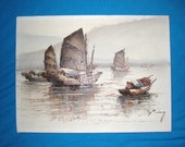 P. Wong Chinese Junk Boats Painting 12 x 16 Unframed - Free US S/H