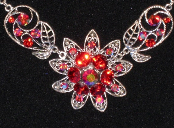 """Red Aurora Borealis Large Floral Necklace - Awesome Vintage 18 1/2"""" - SALE"""