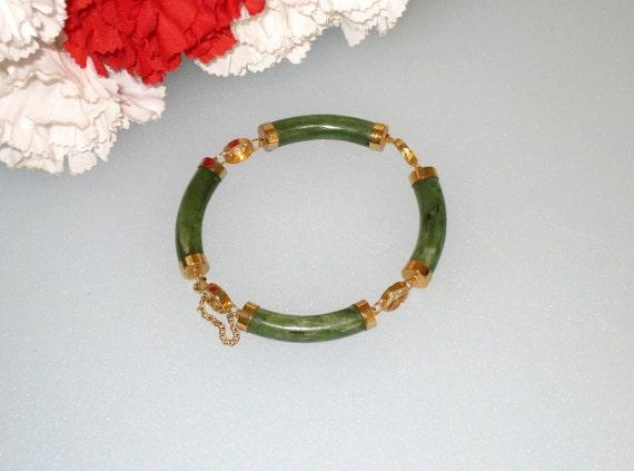 SALE - Chinese JADE Bracelet w/ Pierced Gold Tone Chinese Symbols