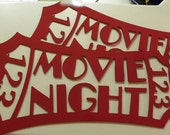 "Home Theater Decor Red Movie Ticket ""Movie Night""  24"" x 18"""