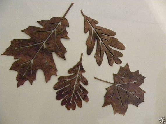 Metal wall art decor leaf accents set of 4 by for Leaf wall decor