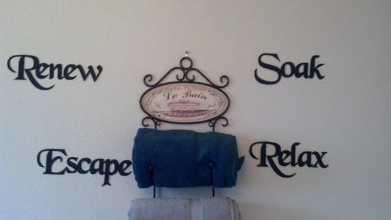 Metal Wall Art For A Bathroom : Bath set words renew soak escape relax metal by