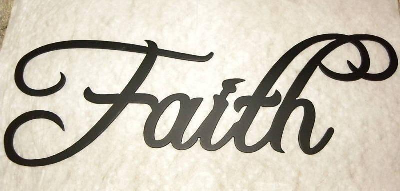 Faith word home decor metal wall art by sayitallonthewall for Faith decor