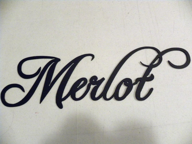 Merlot Wine Word Home Kitchen Decor Metal by sayitallonthewall