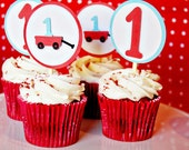 Modern Red Wagon Cupcake Toppers