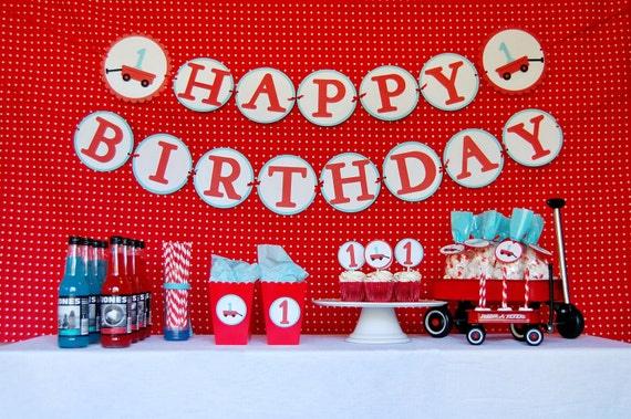 Modern Little Red Wagon First Birthday Party Package