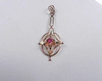 Fine gold 14k Drop Pendent with Red Stone