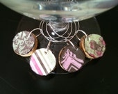 PICK YOUR DESIGNS Cork Wine Charms with Pink, Green, and Brown Designs Upcycled and Repurposed