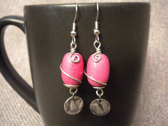 Dangle Antique Silver Fishhook Earrings with Fuscia Wire Wrapped Bead and Silver Hammered Disc Drop