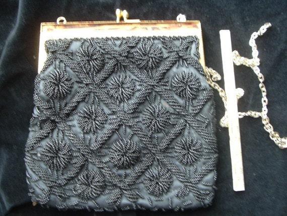 BEADED EVENING BAG purse black vintage 1960s 1950s
