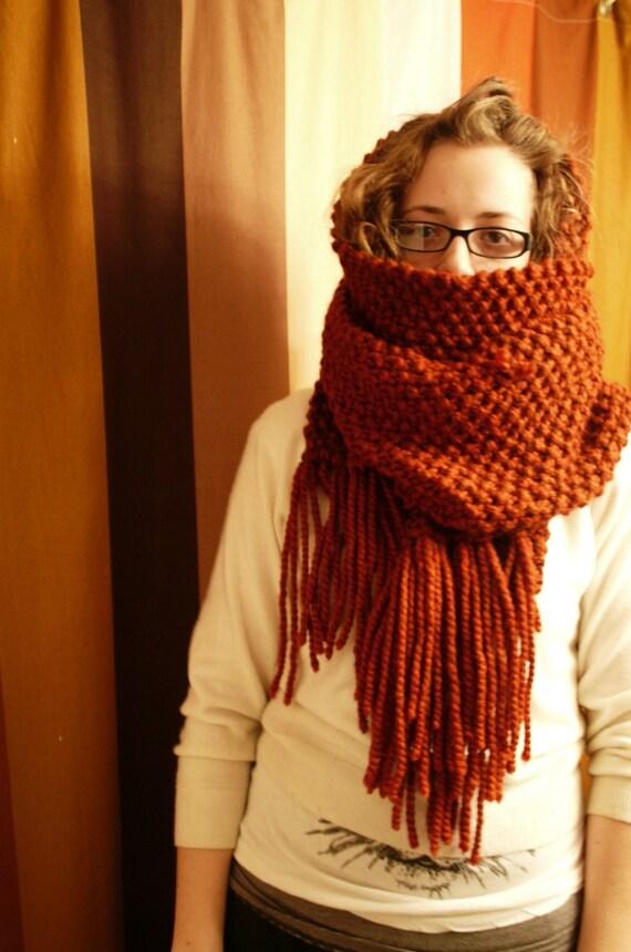 Super Soft Burnt Orange Scarf Hand Knit
