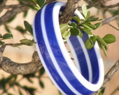 Vintage Blue and White Striped Bangle