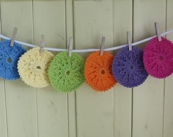 Rainbow Cotton Bath Scrubbies - Set of 5 - Pick your Favorite Colors