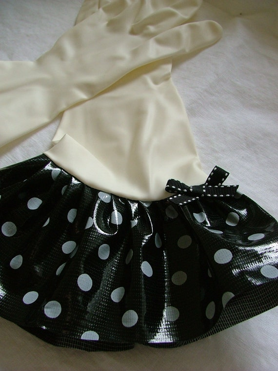Plain Jane Black w/White Polka Dots Oilcloth Gloves - Latex Free - Not Just for Cleaning (Size Med)
