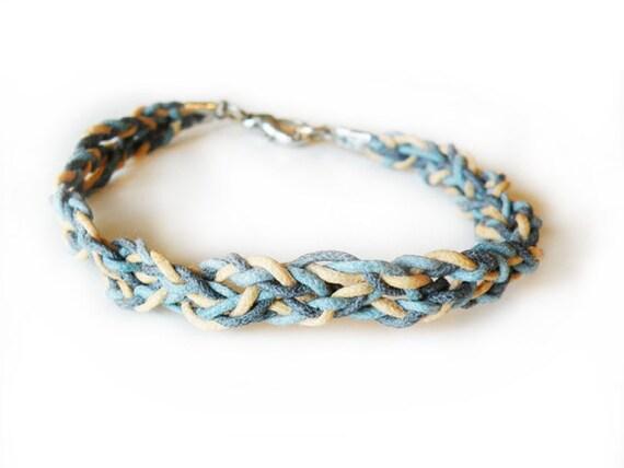 blue on blue - woven bracelet