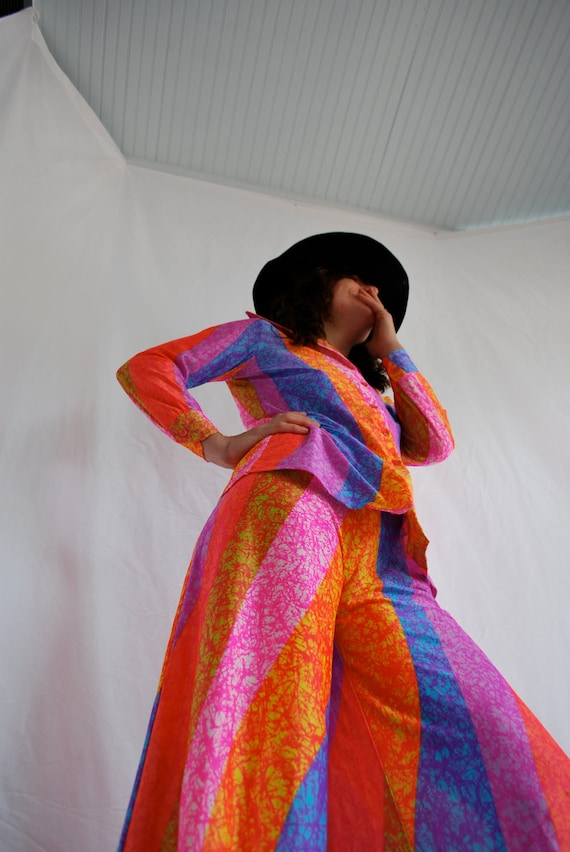 NEON Psychedelic Day Glo Pantsuit Vtg 70s Trippy Hippie SALE