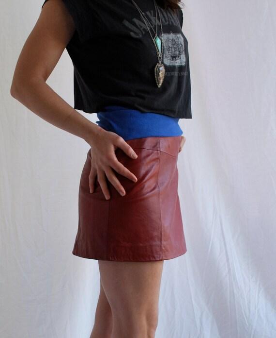 Red LEATHER Mini Skirt Biker Rocker Hot Hot Hot