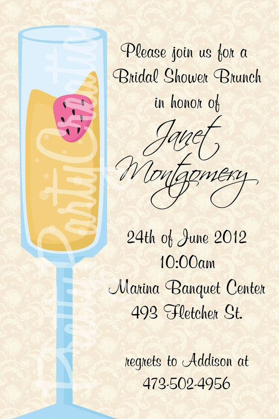 Mimosa Bridal Shower Brunch Invitation You Print 2 To
