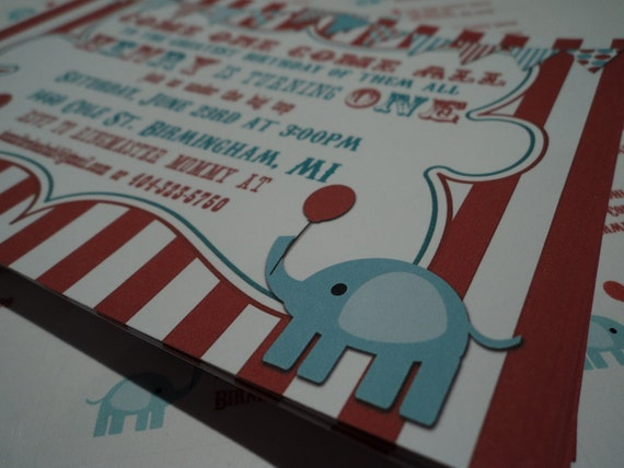 ReD and TeaL VINTAGE CIRCUS invitation - U PRINT