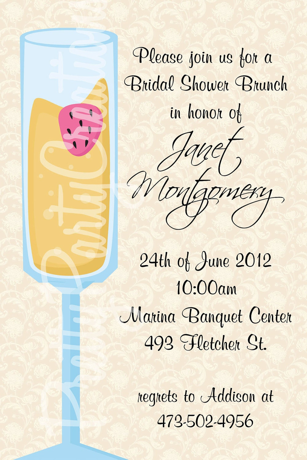 MIMOSA bridal shower brunch invitation by PrettyPartyCreations