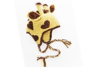 Delightfully Adorable Crochet Giraffe Earflap Hat - Youth and Adult Size