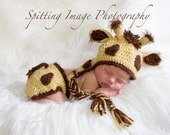 Delightfully Adorable Crochet Giraffe Earflap Hat and Diaper Cover Set - Newborn to 6 Months