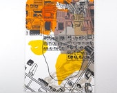 Abstract Rural / Urban landscape Screen Print Yellow, Orange, Gray ink on White Paper