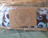 Fabric Ribbon Damask Design Shabby Chic Upcycled Material Brown and Light Blue 4.75 yards - 171 inches Gift tag scrapbooking