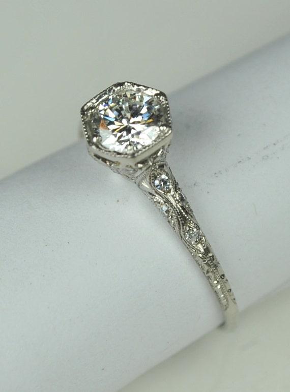 Simply Elegant Art Deco Engagement RIng