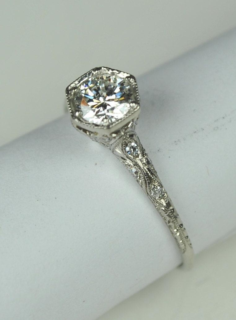 simply elegant art deco engagement ring. Black Bedroom Furniture Sets. Home Design Ideas