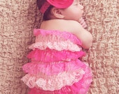 Pink Flower  Baby Headband, Fabric in pink  chiffonand embellished with Huge Rhinestone Center