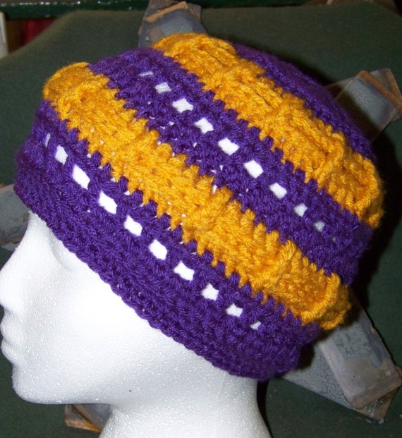 Warm Purple and Gold Crocheted Hat...Tobaggan...Ski Cap...Gift Idea
