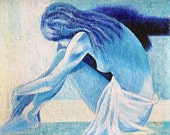 "30""x24""Ballerina in Blue Colors Acrylic Original Painting"